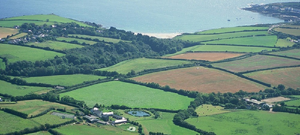 Pollaughan Farm Holiday Cottages aerial view to coast