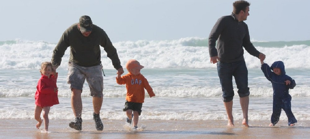 Bosinver Farm Holidays - dads with kids on beach