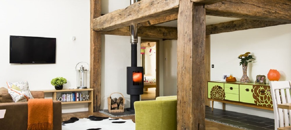 Bosinver Farm Holidays - Lowen lounge with woodburner