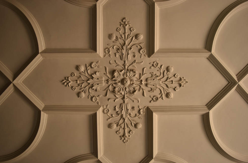 Ceiling plasterwork detail at Lanhydrock House, Cornwall